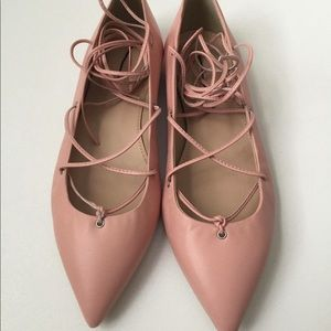 J crew pink lace up ballet shoes